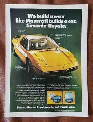 1973 Simoniz Royale Car Wax Print Ad w/ Maserati Bora V8 5 Speed