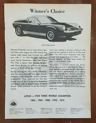 1973 LOTUS Europa Special SPECIAL, TWIN CAM, BIG VALVE, 5-SPEED ...