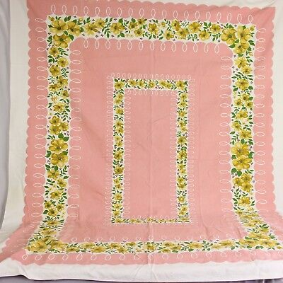 Vtg Barkcloth Tablecloth Pink Yellow Floral Textured Cotton Mid Century 60 X 51
