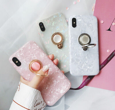 For iphone 6/6s 7 8 Plus X XS XR XS Max Soft Silicone Shell Ring Holder Case