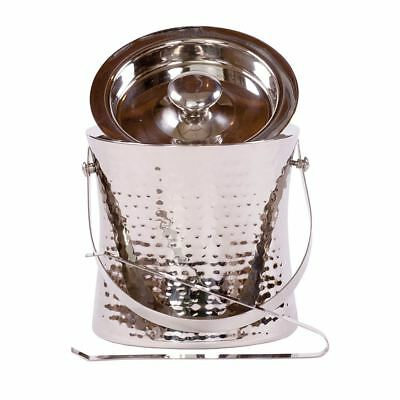 Epicurean Ice Bucket Stainless Steel Hammered- Wine Cooler With Tongs