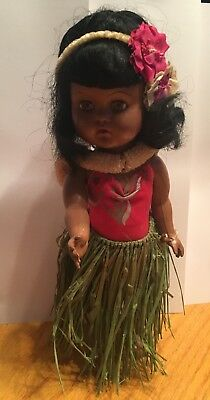 Vintage Hawaiian Hula Doll With Red Floral Print Bathing Suit