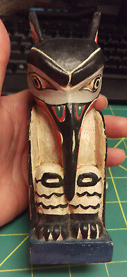Raven Totem Pole - Colorful totem hand carved from wood and hand painted 6inch
