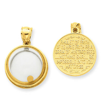 14k Yellow Gold Mustard Seed Domed If Ye Have Faith Pendant REL164