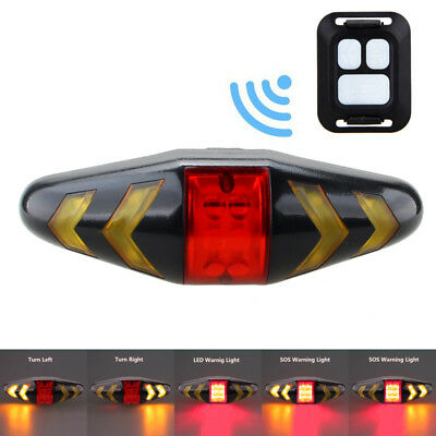 Rechargeable LED Bike Tail Light Bicycle Turn Signal w/ Front Bar Remote Control