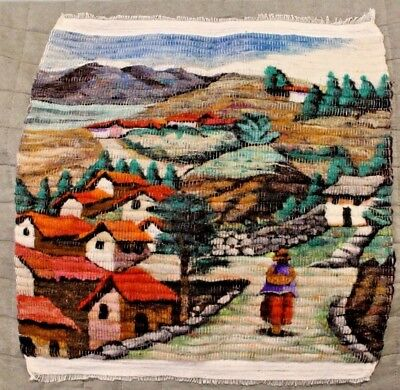 """South American Scenic Village Textile Wall Art Tapestry Hand Woven 16.5 x 18.5"""""""