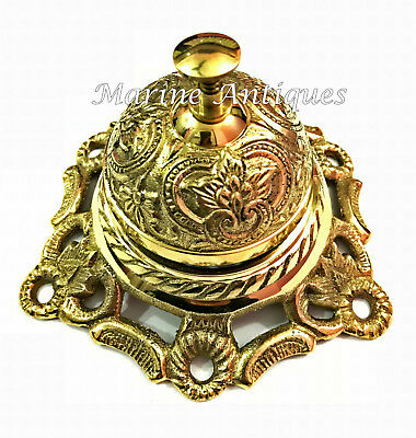 Antique Brass Ornate Hotel Front Desk Bell Vintage Service Counter Decor
