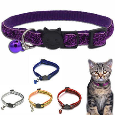 Personalized Breakaway Safety Cat Collar With Bell Neck Strap For Pet Cat Kitten