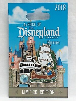 Disneyland Piece of History 2018 Rivers of America Donald Duck Mark Twain LE Pin