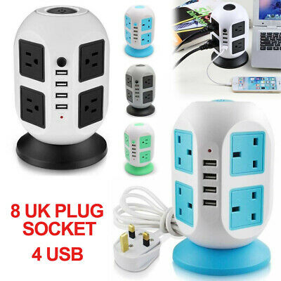 8 Way Switched Surge Tower Extension Lead UK Mains Plug Fast Charger Socket 4USB