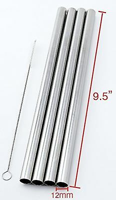 """4 Stainless Steel Straws Big Straw Extra Wide 1/2"""" x 9.5"""" Long Thick FAT ... New"""