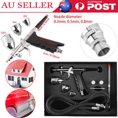 Compressor Kit Dual Action Airbrush Air Brush Spray Gun 2/5/13CC Nail Art Set AU