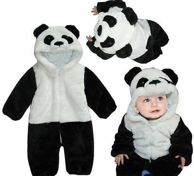 Pop Baby Boy Girl Warm Winter Panda Animal Overall Thicken Romper Clothes Set