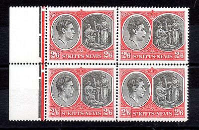 St Kitts Nevis 1945 2s 6d SG76ab mint MNH block of 4 WS8971