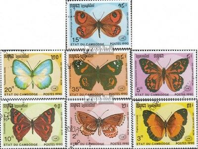 Cambodia 1142-1148 (complete issue) used 1990 Butterflies