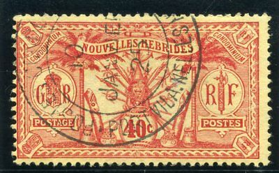 """New Hebrides-French 1913 """"Weapons & Idols"""" 40c red/yellow VFU. SG F27. Sc 27."""