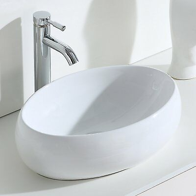 Oval Wash Basin Ceramic Countertop Bathroom Cloakroom Sink,Gloss White