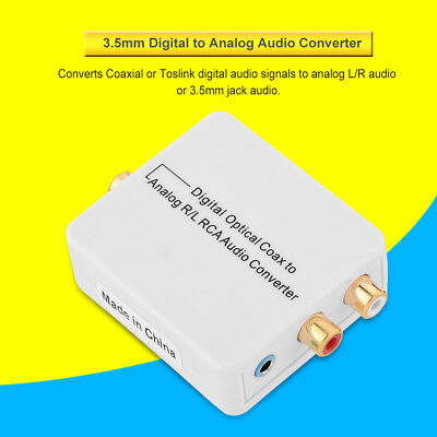 Digital Optical Coaxial to Analog Audio Converter Adapter RCA L/R 3.5mm W/ Cable