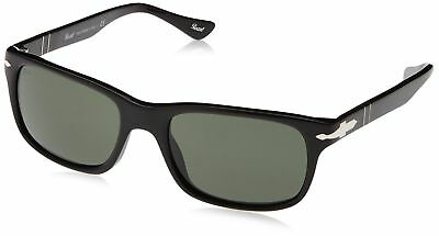 e298f049bf5 Persol Men s PO3048S Sunglasses Black   Crystal Green 58mm Millimeters New