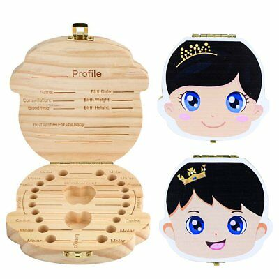 Tooth Box Organizer Kids Baby Save Milk Teeth Wood Storage Box For Boy Girl Gift