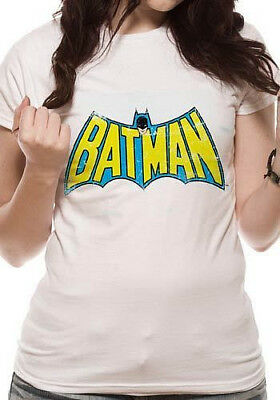 Official Vintage BATMAN Logo Womens T Shirt White DC Comics XXL