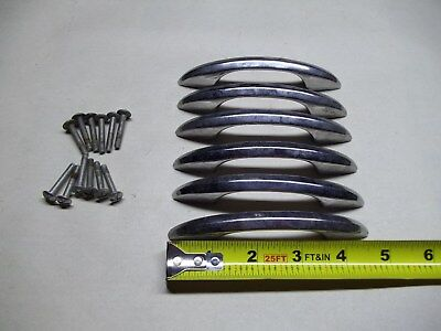 Lot of 6 vintage chrome drawer pulls