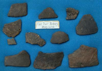 11 LARGE ALABAMA Indian Artifact-Mississippian Stamp Pottery Shards-FLINT RIVER