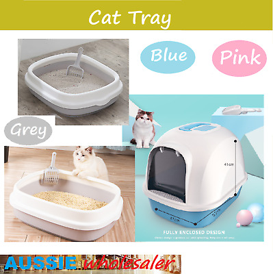 Paws n Claws Hooded Cat House Litter Tray Pan Set- Pet Kitten Toilet Box Scoop