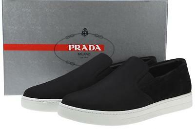 3903bc8de1 NEW PRADA MEN'S Black Techno Nylon Leather Slip On Sneakers Shoes 8.5/us 9.5