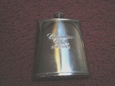 Vintage Canadian Club Reserve Stainless Steel Flask ~ Screw Top Lid (MINT)