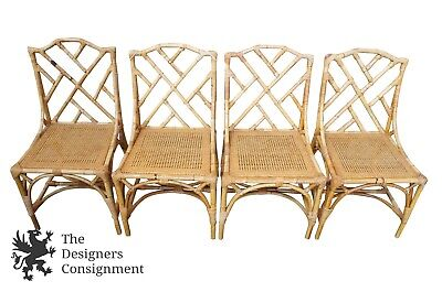 4 McGuire? Bamboo Chairs Chinese Chippendale Hollywood Regency Style Cane Seat