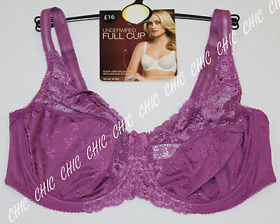 M&S Women Underwired Floral Lace Full Cup Bra With Non Slip Straps BNWT