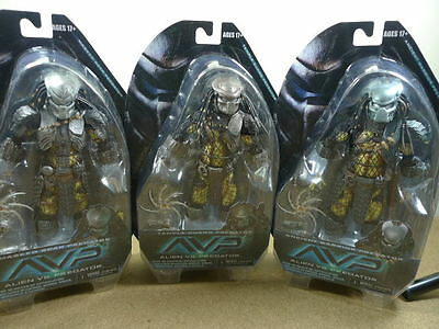 NECA Series 15 Set Alien vs Predator AVP Scar, Warrior & Temple Guard figures BN