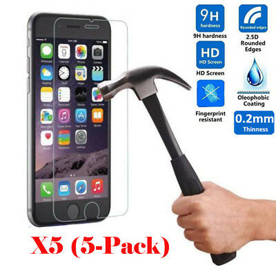 5Pcs 9H Premium Real Screen Protector Tempered Glass Film For iPhone 6 6s 7 Plus