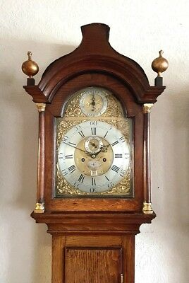 "Lovely Georgian Oak Brass dial ""Strike or Silent"" Longcase Clock C1775"