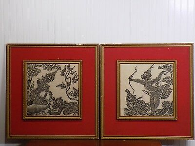 Pair of Vintage THAI SIAM Charcoal Temple Rubbing Framed Art