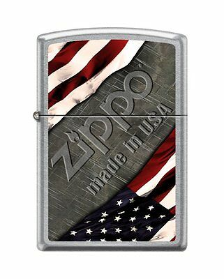 "Zippo ""Made in USA-Flag"" Street Chrome Lighter, Full Size,  1276"