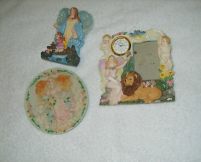LOT of 3 ANGEL Figurines/Picture Frame w Clock/Paperweights/Knick Knacks LOVELY!