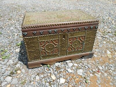 Zanzibar Dowry Dower Chest Trunk Antique Solid Wood Brass Decorations with Key!!