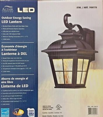 Altair Energy Saving LED Lantern Brushed Patina Finch Clear Water Glass - NEW