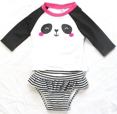 Gymboree Bathing Suit Rash Guard Panda Black White Pink 18 24 M Baby Buddies