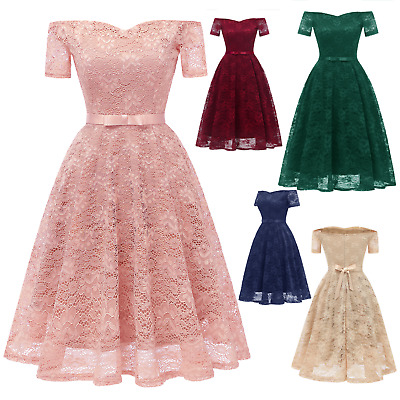 Women's Vintage Short Sleeves Lace Formal Wedding Cocktail Bridesmaid Prom Dress