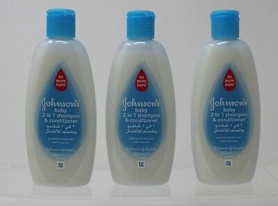 3 x 200ml Johnson's Baby 2-in-1 Shampoo and Conditioner