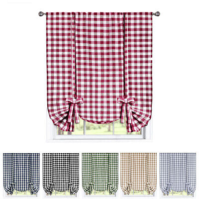 """Window Curtain Tie-Up Shade Checked Plaid Gingham Kitchen Drapes (42"""" W x 63"""" L)"""