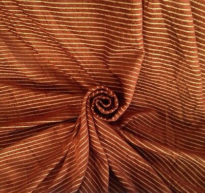 18 M Art Deco Soft Chenille Velvet Horizontal Stripe Curtain Fabric Rust & Gold