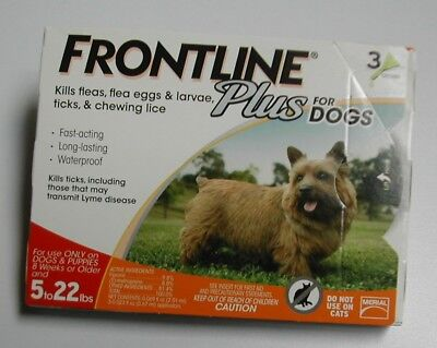 Frontline Plus for Dogs 5 - 22 lbs (3 pack) 100% Genuine U.S EPA Approve !!!