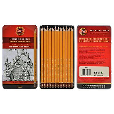 KOH-I-NOOR PROFESSIONAL GRAPHITE PENCILS TIN 5B-5H / 8B-2H (Set of 12) DRAWING