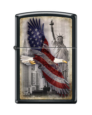 "Zippo ""Eagle-Statue of Liberty-New York Skyline"" Lighter, Black Matte, 2102"
