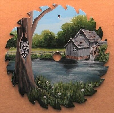 Hand Painted Saw Blade Two Raccoons Old Mill Pond Summer Cabin Lodge Decor