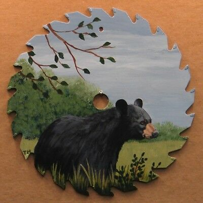 Hand Painted Saw Blade Black Bear in Spring Summer Cabin Lodge Decor